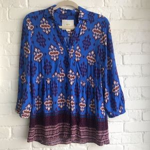 Anthropologie Maeve royal blue blouse w/ buttons 8
